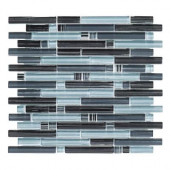 Blue Zephyr Pencil 12 in. x 12 in. x 8 mm Glass Mosaic Wall Tile