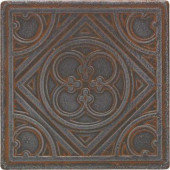 Castle Metals 4-1/4 in. x 4-1/4 in. Wrought Iron Metal Clover Insert Wall Tile