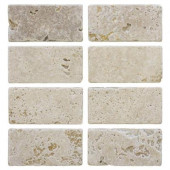 Light Travertine 3 in. x 6 in. Travertine Floor/Wall Tile (1pk / 8- pcs-1 sq. ft.)