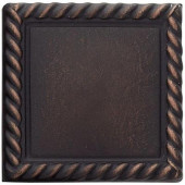 2 in. x 2 in. Cast Metal Rope Dot Dark Oil Rubbed Bronze Tile (10 pieces / case) - Discontinued