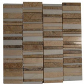 Piano-Keys Pattern Ranch 12 in. x 12 in. x 8 mm Marble Floor and Wall Tile