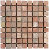 Copper Fire 12 in. x 12 in. x 10 mm Tumbled Quartzite Mesh-Mounted Mosaic Tile (10 sq. ft. / case)