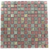 Tectonic Squares Multicolor Slate And Rust 12 in. x 12 in. x 8 mm Glass Mosaic Floor and Wall Tile