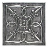 Massalia Pewter 4 in. x 4 in. Metal Fleur de Lis Wall Tile-DISCONTINUED