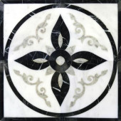 Venetian Del Sol 24 in. x 24 in. Polished Marble Water-Jet Medallion Floor and Wall Tile