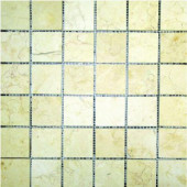 Luxor Gold 12 In. x 12 In. 10 mm Honed Limestone Mesh-Mounted Mosaic Tile