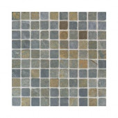 Indian Multicolor 12 in. x 12 in. x 9-1/2 mm Tumbled Slate Mosaic Floor and Wall Tile (5 sq. ft. / case)