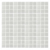 Monoz M-White-1400 Mosiac Recycled Glass Mesh Mounted Floor and Wall Tile - 3 in. x 3 in. Tile Sample