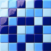 12.5 in. x 12.5 in. Capri Blu Mix Glossy Glass Tile-DISCONTINUED