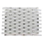 Contempo Curve Bright White 13 in. x 11 in. x 8 mm Glass Wall Tile