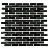 Contempo Classic Black 12 in. x 12 in. Glass Mosaic Floor and Wall Tile-DISCONTINUED