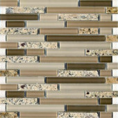 Spectrum Desert Gold-1663 Granite And Glass Blend Mesh Mounted Floor and Wall Tile - 2 in. x 12 in. Tile Sample