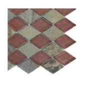 Tectonic Diamond Multicolor Slate and Rust Glass Tiles Tile Sample