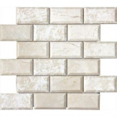 Paradise Beige 12 in. x 12 in. x 10 mm Polished Beveled Marble Mesh-Mounted Mosaic Tile