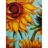 Van Gogh, Sunflowers (detail) Mural 18 in. x 24 in. Wall Tiles-DISCONTINUED