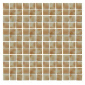 Spongez S-Tan-1407 Mosiac Recycled Glass Mesh Mounted Floor and Wall Tile - 3 in. x 3 in. Tile Sample