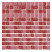 Irridecentz I-Red-1415 Mosiac Recycled Glass Mesh Mounted Tile - 3 in. x 3 in. Tile Sample