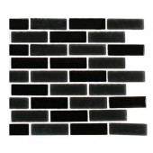 Contempo Classic Black 1/2 in. x 2 in. Brick Pattern - 6 in. x 6 in. Tile Sample-DISCONTINUED