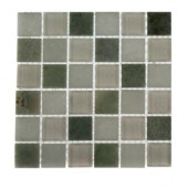 Contempo Ming White 1 in. x 1 in. Marble and Glass Tile Sample