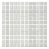 Monoz M-White Honed-1404 Mosaic Recycled Glass 12 in. x 12 in. Mesh Mounted Floor & Wall Tile-DISCONTINUED