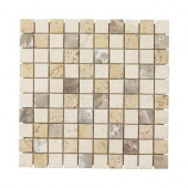 Giallo Sienna Medley 12 in. x 12 in. x 8 mm Travertine Marble Mosaic Floor/Wall Tile