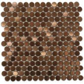 Metal Rouge Penny Round 12 in. x 12 in. x 8 mm Stainless Steel Floor and Wall Tile
