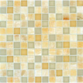 Honey Ivory Onyx 12 in. x 12 in. x 8 mm Glass Stone Mesh-Mounted Mosaic Tile