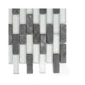 Tectonic Brick Black Slate and Silver Glass Floor and Wall Tile Sample