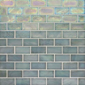 Edgewater Abalone 1 in. x 2 in. 10-5/8 in. x 10-5/8 in. Glass Floor & Wall Mosaic Tile-DISCONTINUED