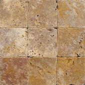 Gold 4 In. x 4 In. Tumbled Travertine Floor and Wall Tile (1 sq. ft. / case)
