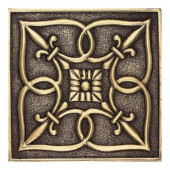 Massalia Bullion 4 in. x 4 in. Metal Fleur de Lis Wall Tile-DISCONTINUED