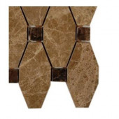 Artois Pattern Hexagon Light Emperador With Dark Emperador Dot Marble - 6 in. x 6 in. x 8 mm Floor and Wall Tile Sample