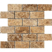 Montagna Belluno Noce 12 in. x 12 in. x 8mm Porcelain Mosaic Floor and Wall Tile