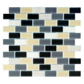 Driftwood 12 in. x 12 in. Blue/Gray Brick Mosaic Tile-DISCONTINUED