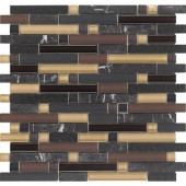 Varietals Pinot Noir-1655 Stone And Glass Blend Mesh Mounted Floor and Wall Tile - 2 in. x 12 in. Tile Sample