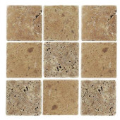 Travertino Noce 4 in. x 4 in. x 8 mm Tumbled Stone Tile (9 pieces/1 sq. ft./1 pack)