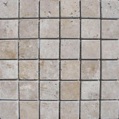 Noche 12 in. x 12 in. x 10 mm Tumbled Travertine Mesh-Mounted Mosaic Tile
