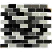 Black Blend 12 in. x 12 in. x 8 mm Glass Mesh-Mounted Mosaic Tile (10 sq. ft. / case)