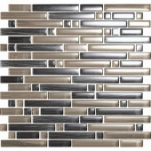 Brushstrokes Grigio-1504-S Strips Mosaic Glass Mesh Mounted - 2 in. x 12 in. Tile Sample