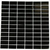 Black Swan Stacked 12 in. x 12 in. Glass Mosaic Floor and Wall Tile-DISCONTINUED