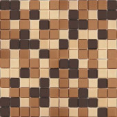 Coffeez Coffee Blend-1104 Mosiac Recycled Glass Mesh Mounted Floor and Wall Tile - 3 in. x 3 in. Tile Sample
