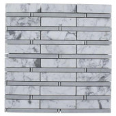 Elder White Carrera and Light Bardiglio 12 in. x 12 in. Marble Floor and Wall Tile-DISCONTINUED