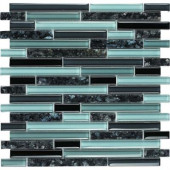 Spectrum Blue Pearl-1662 Granite And Glass Blend Mesh Mounted Floor and Wall Tile - 2 in. x 12 in. Tile Sample