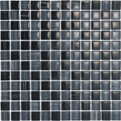 Brushstrokes Nero-1501 Mosaic Glass Mesh Mounted - 4 in. x 4 in. Tile Sample-DISCONTINUED