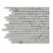 Windsor 1/4 in. x Random White Carrera Pattern Marble Mosaic Tiles - 6 in. x 6 in. Tile Sample