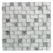 Silver Relic 1x2/11.75 in. x 11.75 in. x 8 mm Glass and Travertine Mosaic Wall Tile