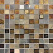 Edgewater Sunset Cliffs 1 in. x 1 in. 11 3/4 in. x 11 3/4 in. Glass and Slate Wall & Floor Mosaic Tile-DISCONTINUED