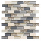 Cedar Cove 12 in. x 12 in. x 8 mm Glass Travertine Mosaic Wall Tile (3.55 lb. / Each)