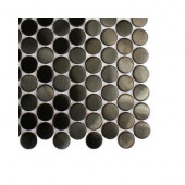 Metal Nero Penny Round Stainless Steel Floor and Wall Tile - 6 in. x 6 in. Tile Sample-DISCONTINUED