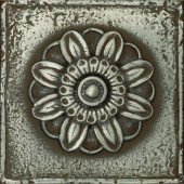Metal Signatures 4-1/4 in. x 4-1/4 in. Iron Metal Rosette Decorative Wall Tile